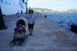 Darwin and mommy at pier next to Norwegian Dawn docked at St Kitts.jpg