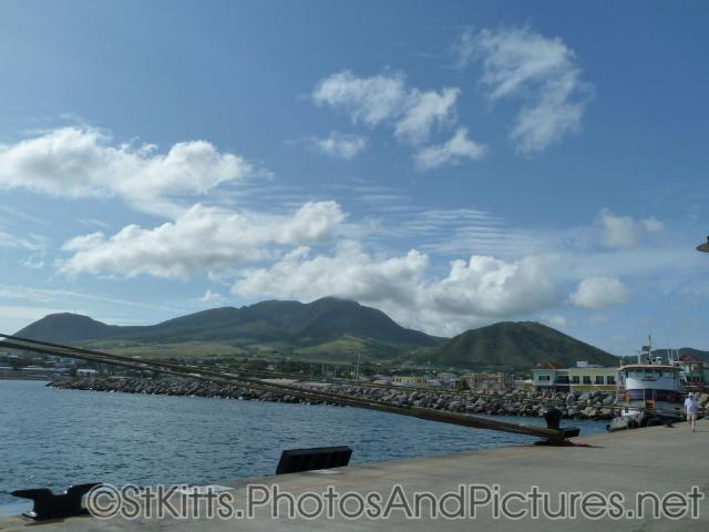 Lush green hills and mountains as viewed from St Kitts Cruise Port.jpg