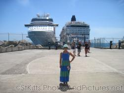 Joann in front of 2 cruise ships at  Port Zante in St Kitts.jpg
