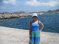 Joann at the cruise pier at Port Zante in St Kitts.jpg