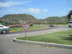 Give Way Yield Sign at a roundabount in St Kitts.jpg